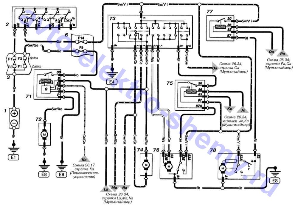 Электросхемы Opel Astra и