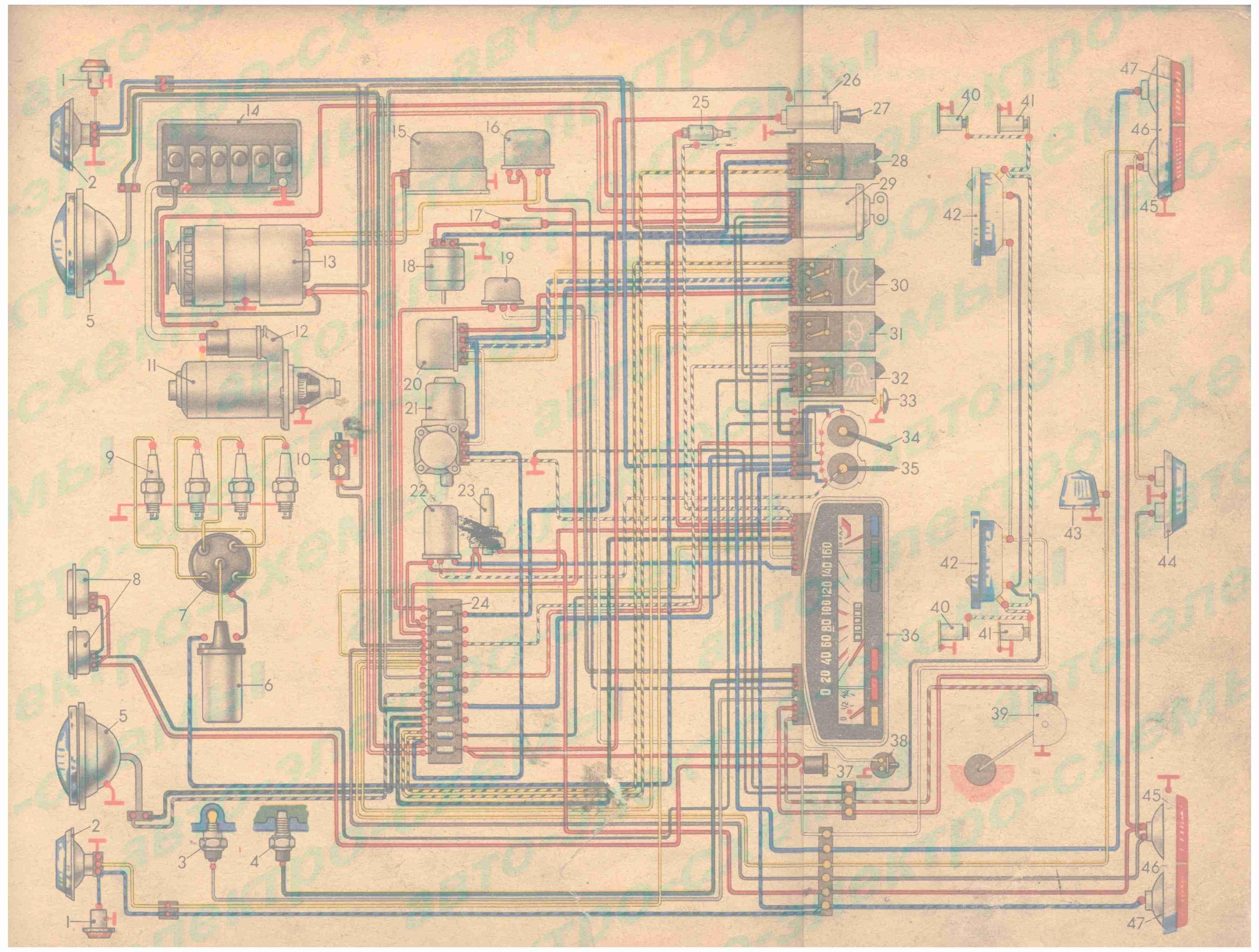 схема подключения электрики ваз 2105