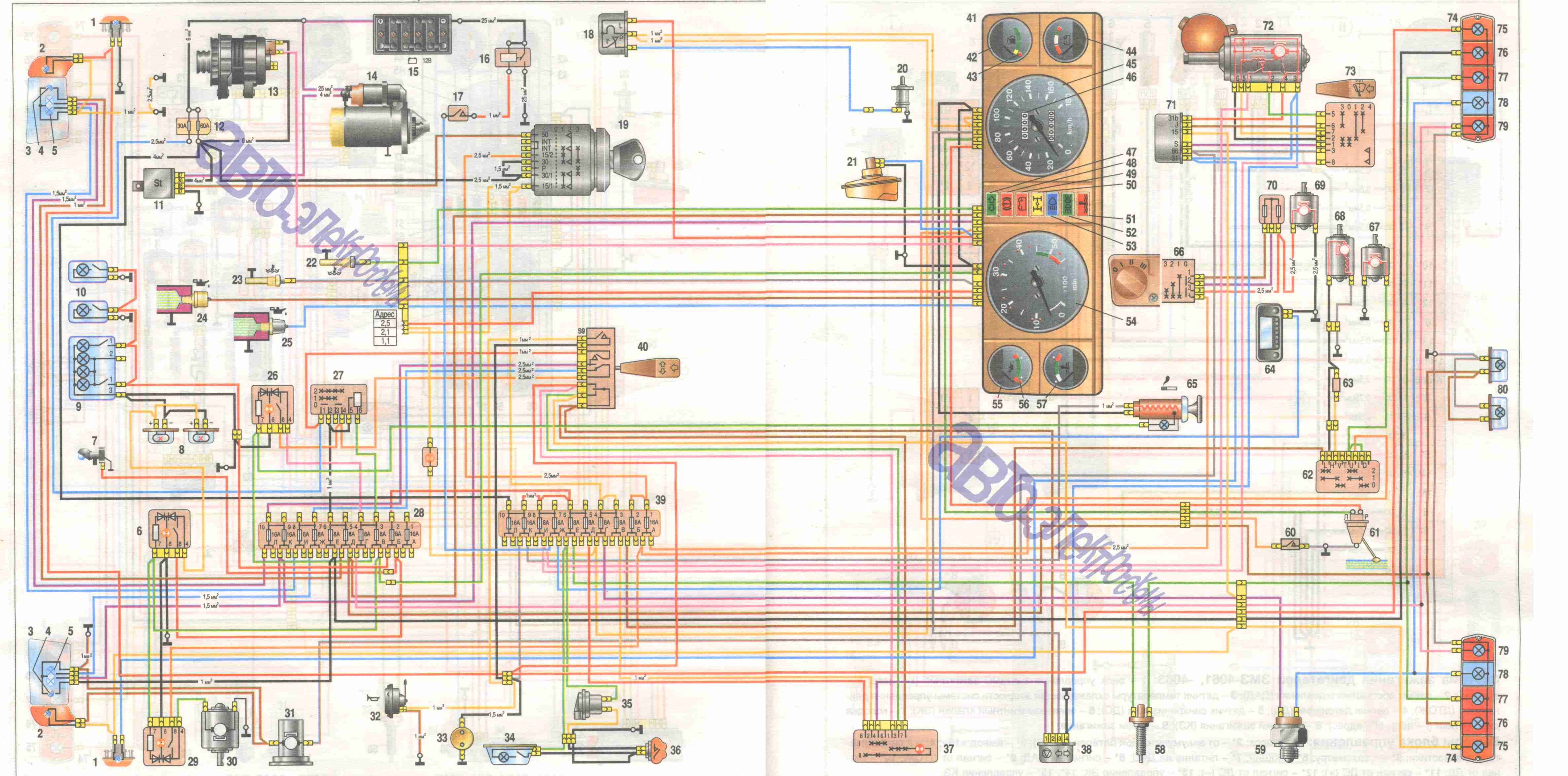 електро схема на москвич
