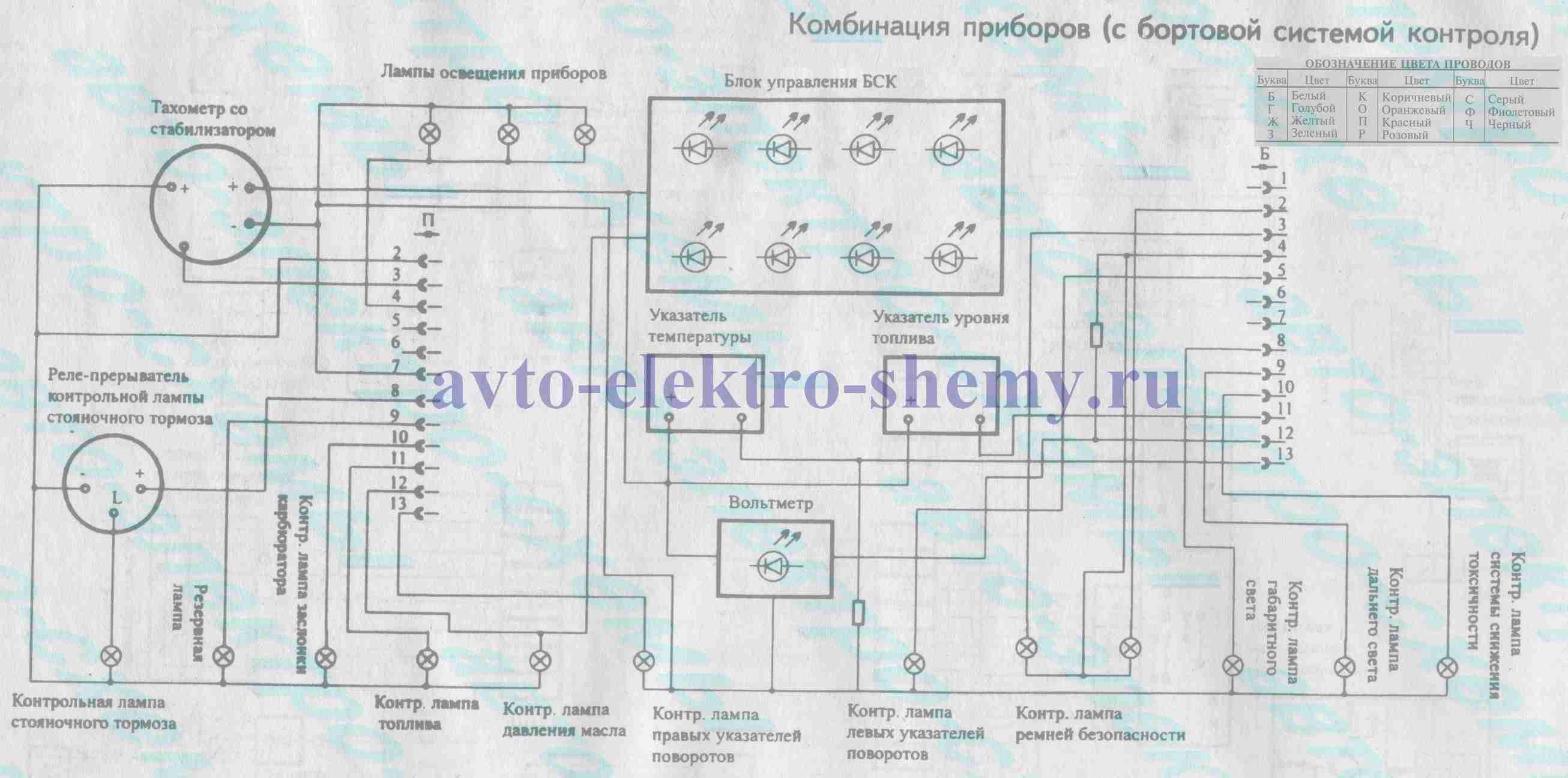 Схема тахометра ваз 2109 высокая панель