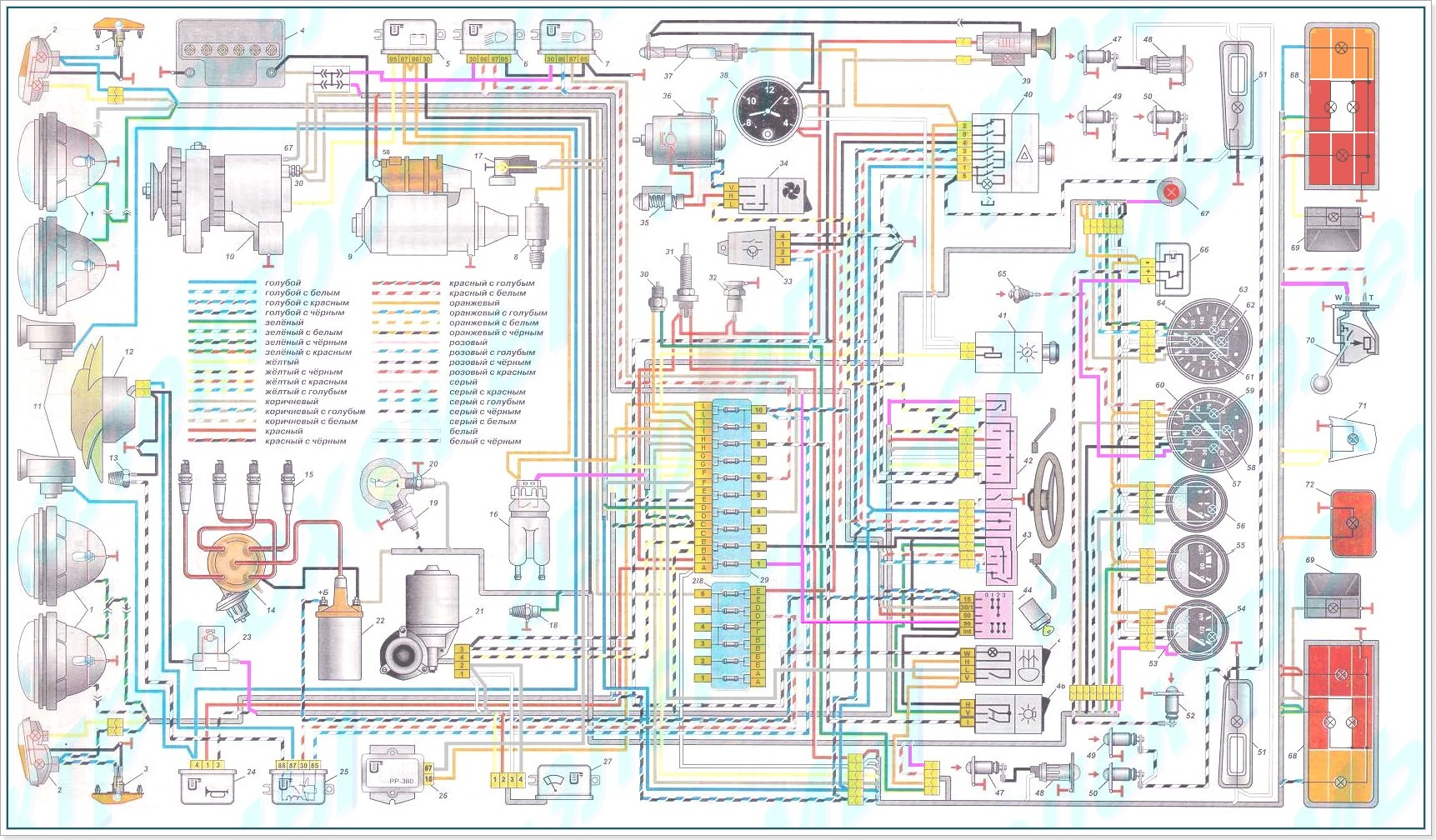 Схема электрическая Ваз 2106.