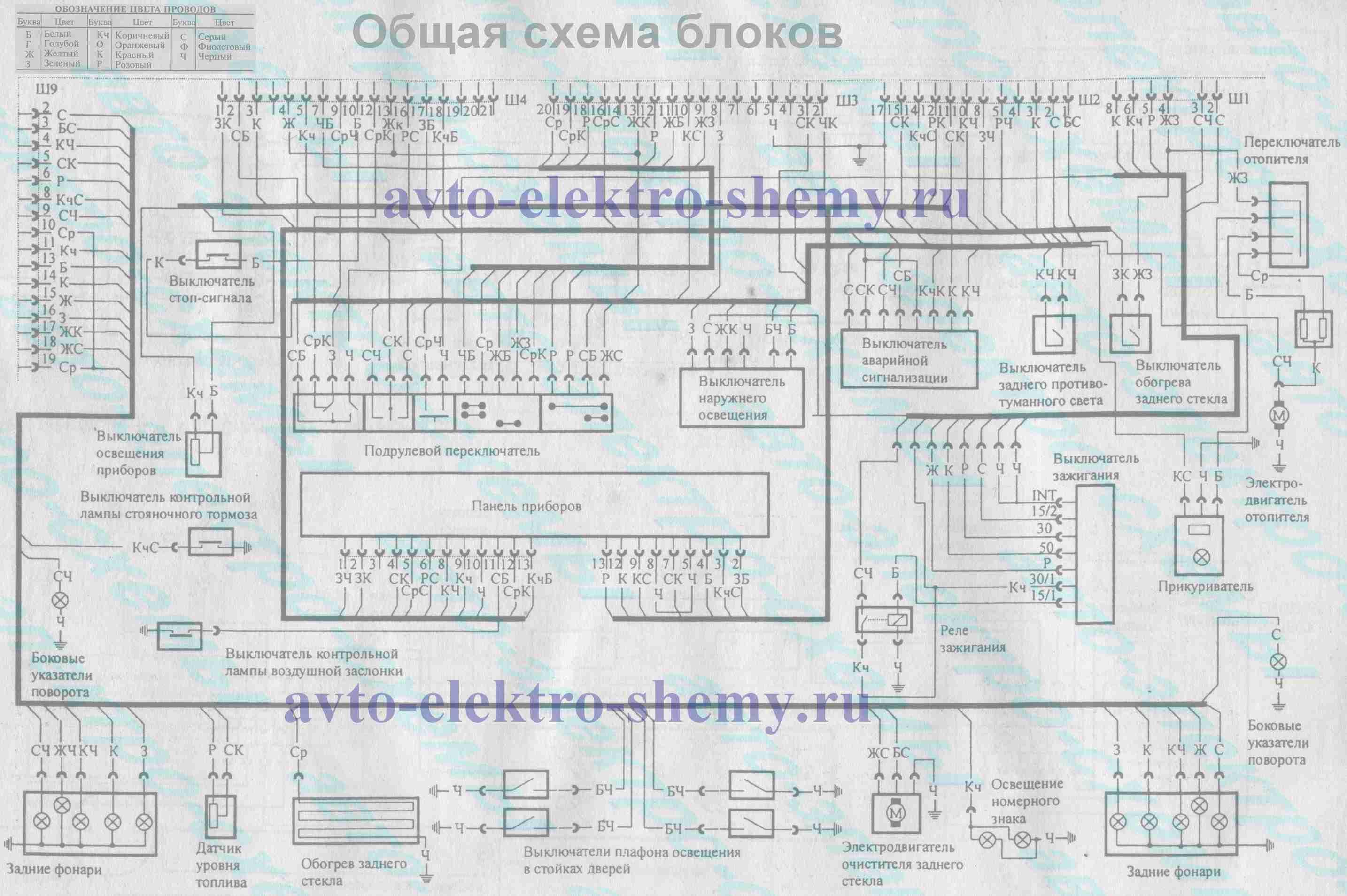 общая схема блоков ВАЗ-21099 и ВАЗ-21099i