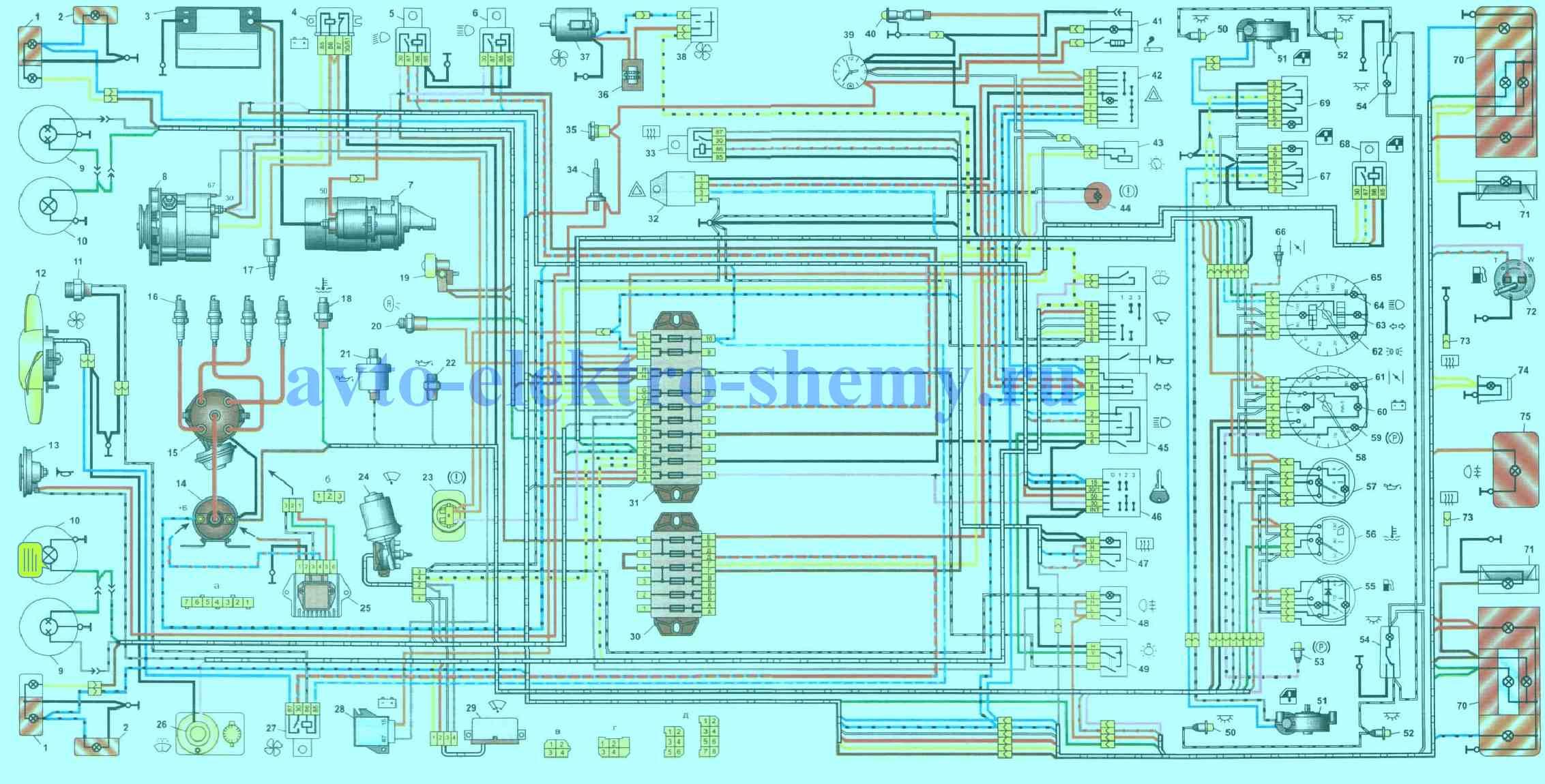 Схема электрооборудования автомобилей ВАЗ-2106_ВАЗ-21061_ВАЗ-21063_ВАЗ-21065 выпуска 1988-2001 гг.