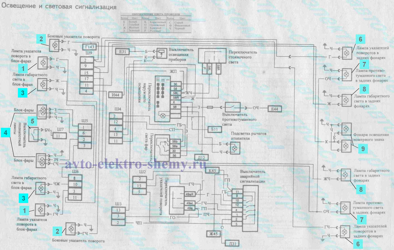 схема внешнего освещения и световой сигнализации ВАЗ 21099