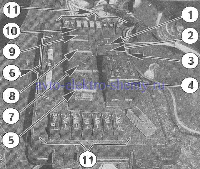Расположение элементов на панели предохранителей ВАЗ 21099 ( рис Б )