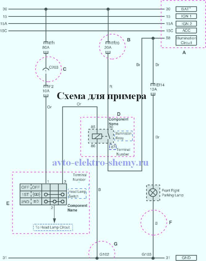 Пример чтения электрических схем Daewoo Matiz.
