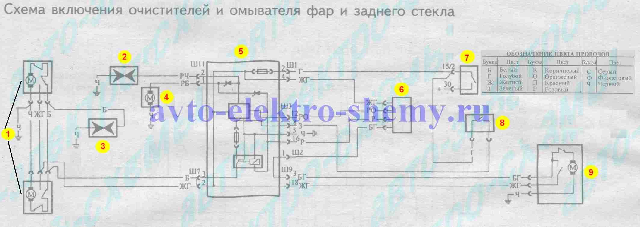 Схема включения очистителей и омывателя фар и заднего стекла на ВАЗ 21099 и 099i