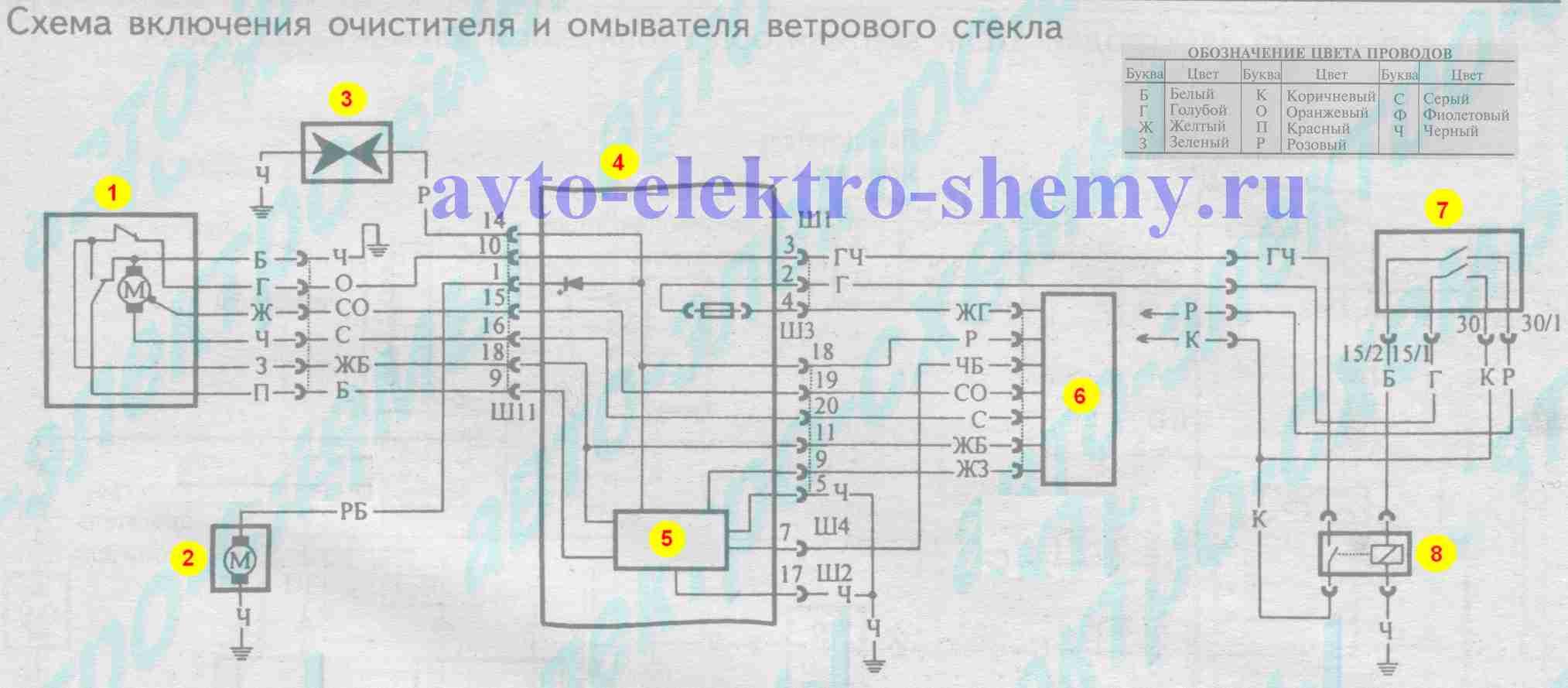 Схема включения очистителя и омывателя ветрового стекла на ВАЗ 21099 и 99i