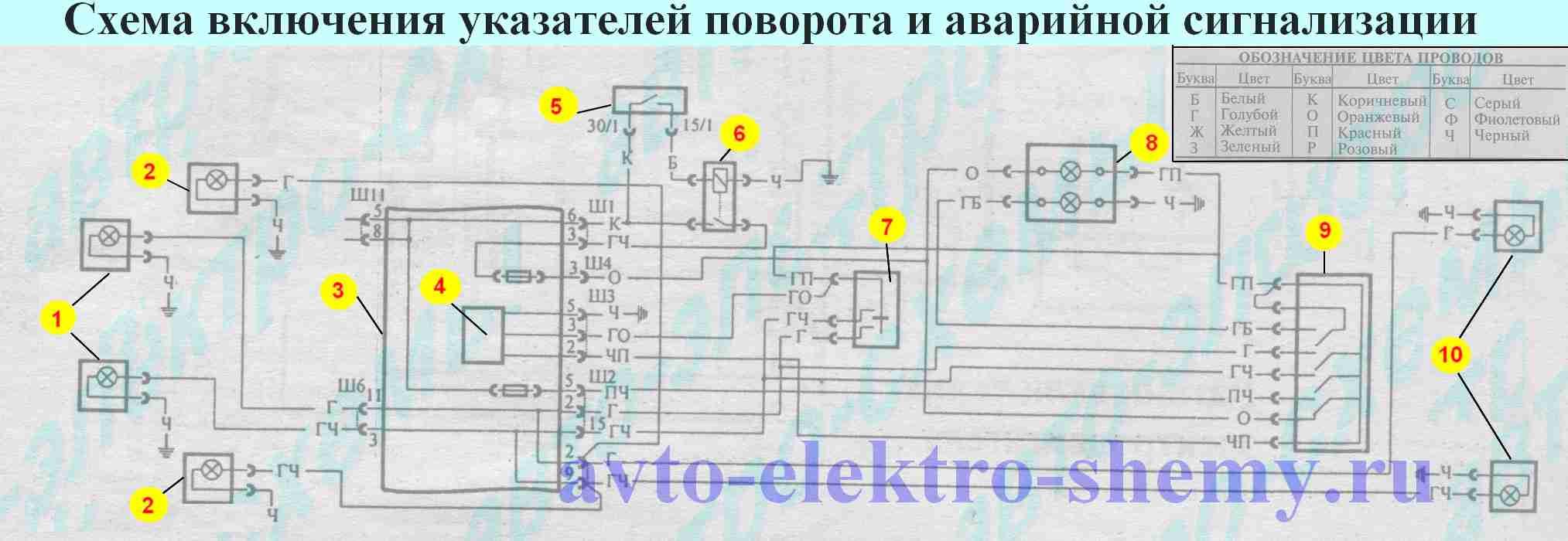 эл.схема аварийной сигнализации зил131