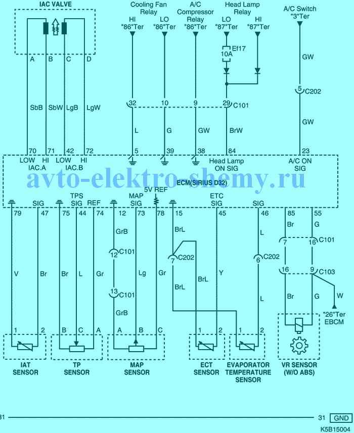 цепь регулятора холостого хода, датчиков (температуры охлаждающей жидкости и тд) Daewoo Matiz 2005г.в.