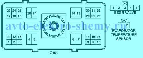 К схеме 7 - условное обозначение и нахождение номера контакта