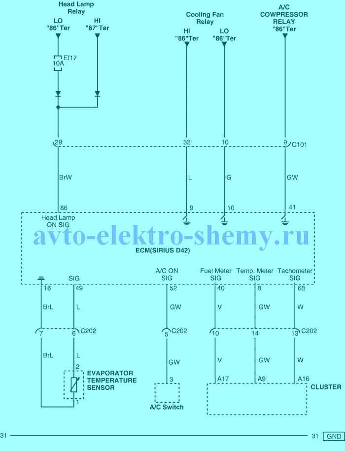 цепь испарителя, переключателя кондиционера и комбинации приборов ав. Daewoo Matiz 2005 г.в..