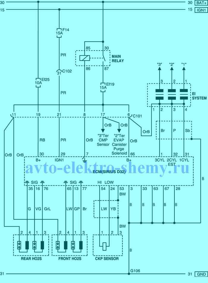 цепь электропитания от аккумуляторной батареи, соединения с массой и тд. Daewoo Matiz 2005г.в.
