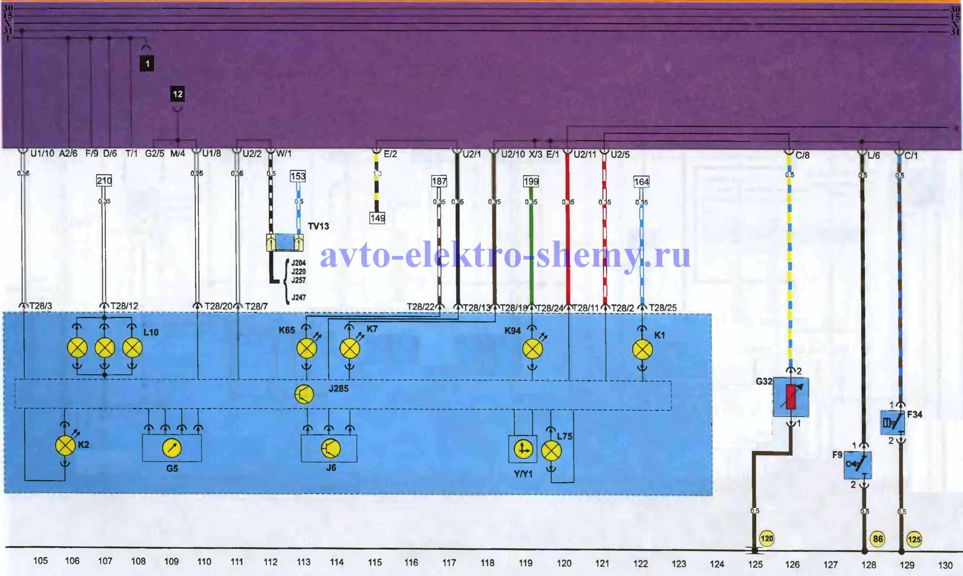 Щиток приборов Фольксваген Пассат 1988-96г.в., схема.