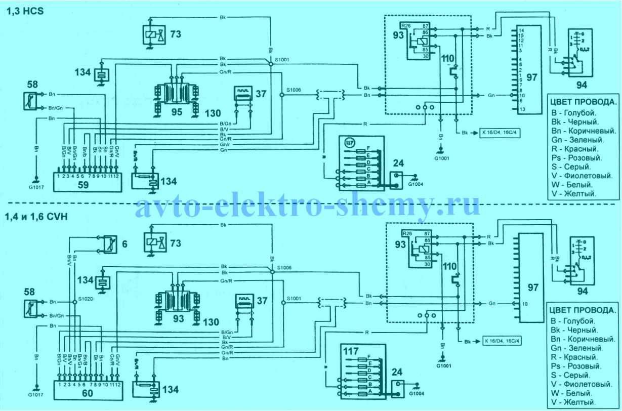 Электросхема системы зажигания (все карбюраторные модели) автомобилей Ford Escort Orion изготовленных до 1995