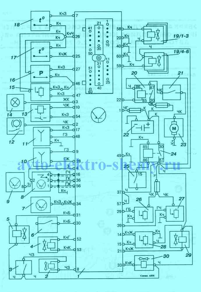 Электрическая схема КСУД «EEC IV» автомобилей Ford Scorpio 85-94 г.в. с двигателем «ВО»