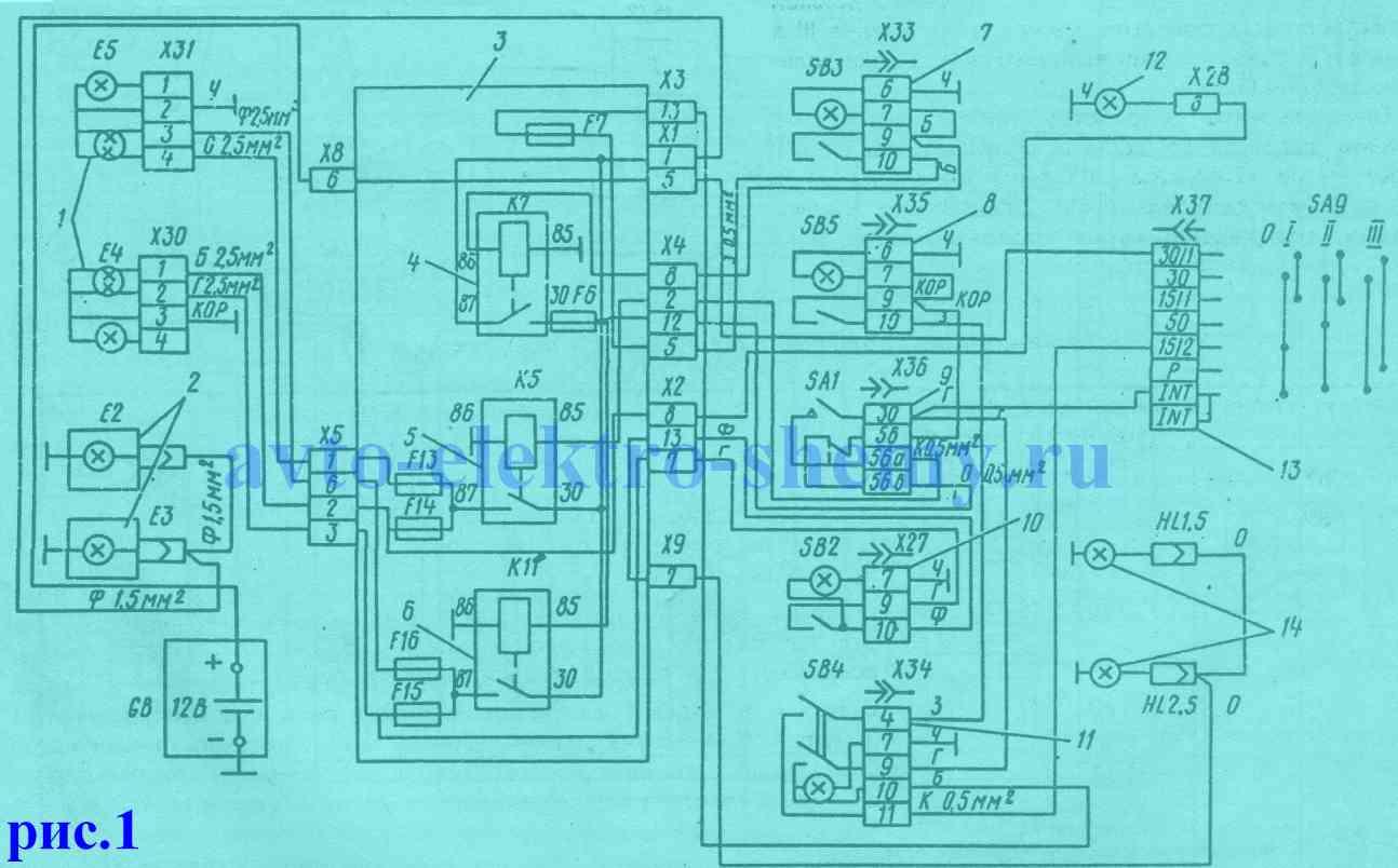 Электросхема включения фар противотуманных фонарей и фонарей авт.АЗЛК 2335 и 23352