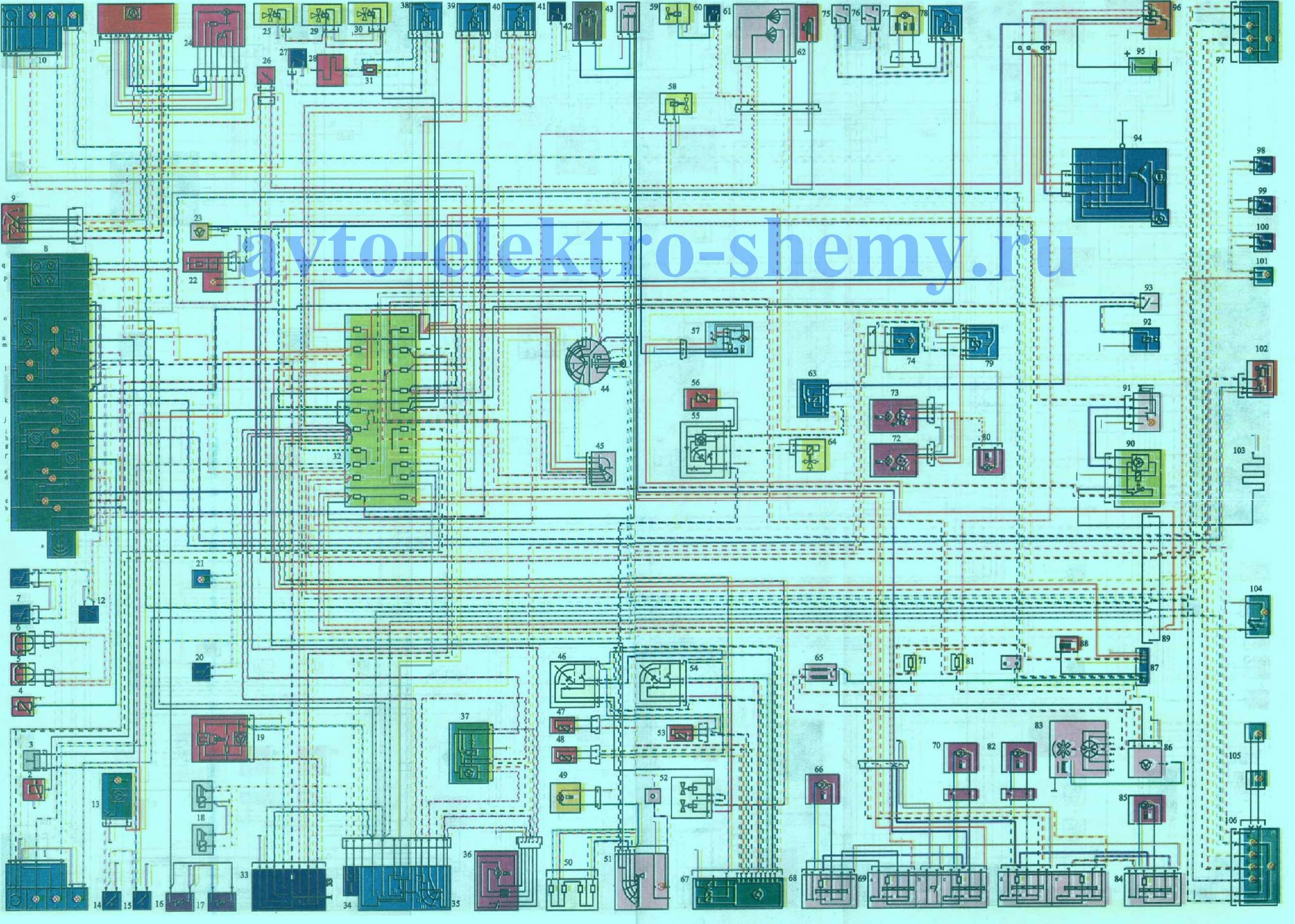 Схема электропроводки автомобиля Mersedes-Benz моделей 280S, 280SE, 350SE, 380SE, 450SE, 500SE (типа W 126).