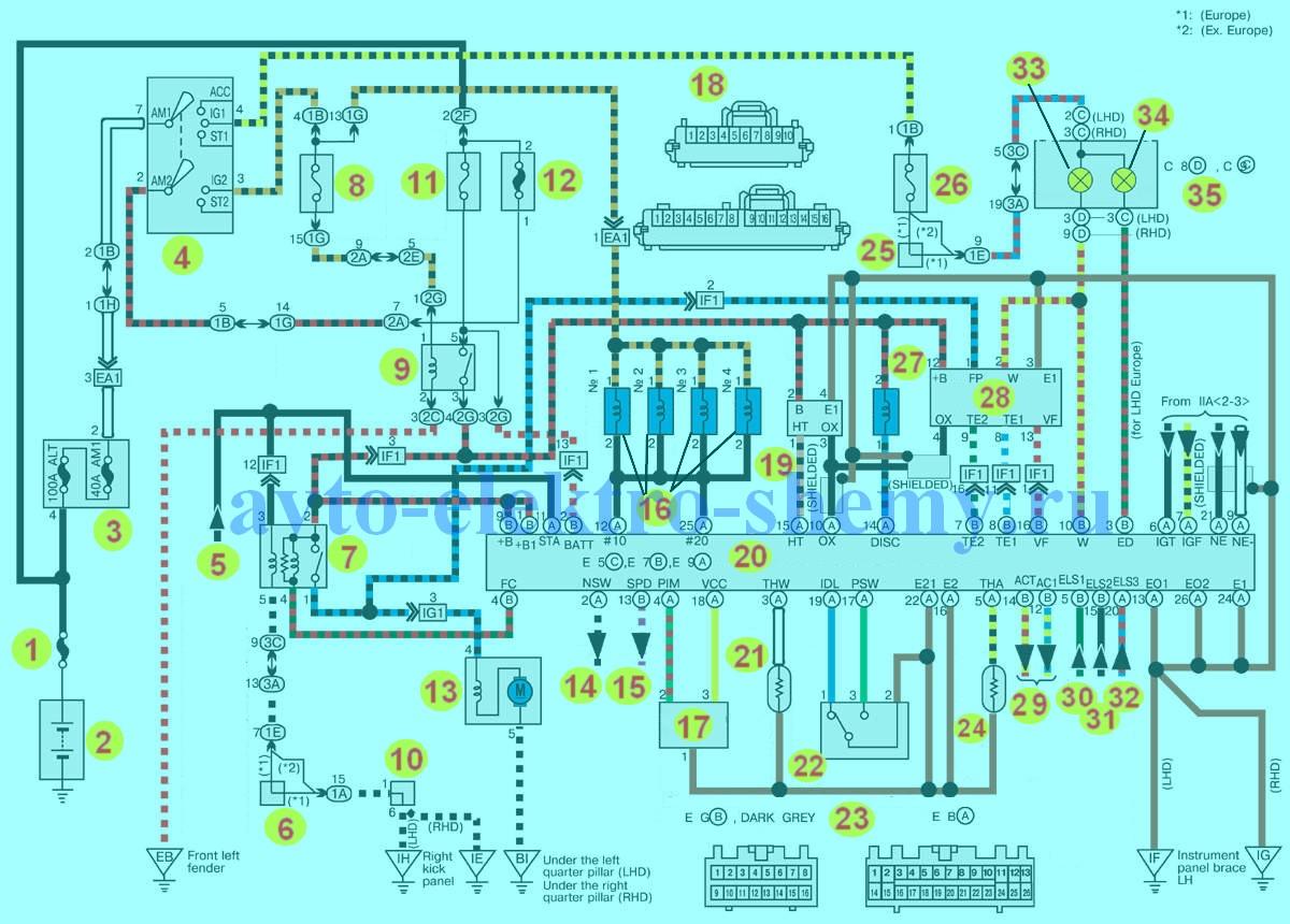 Схема электрооборудования автомобиля ваз 2107 с инжекторным двигателем.