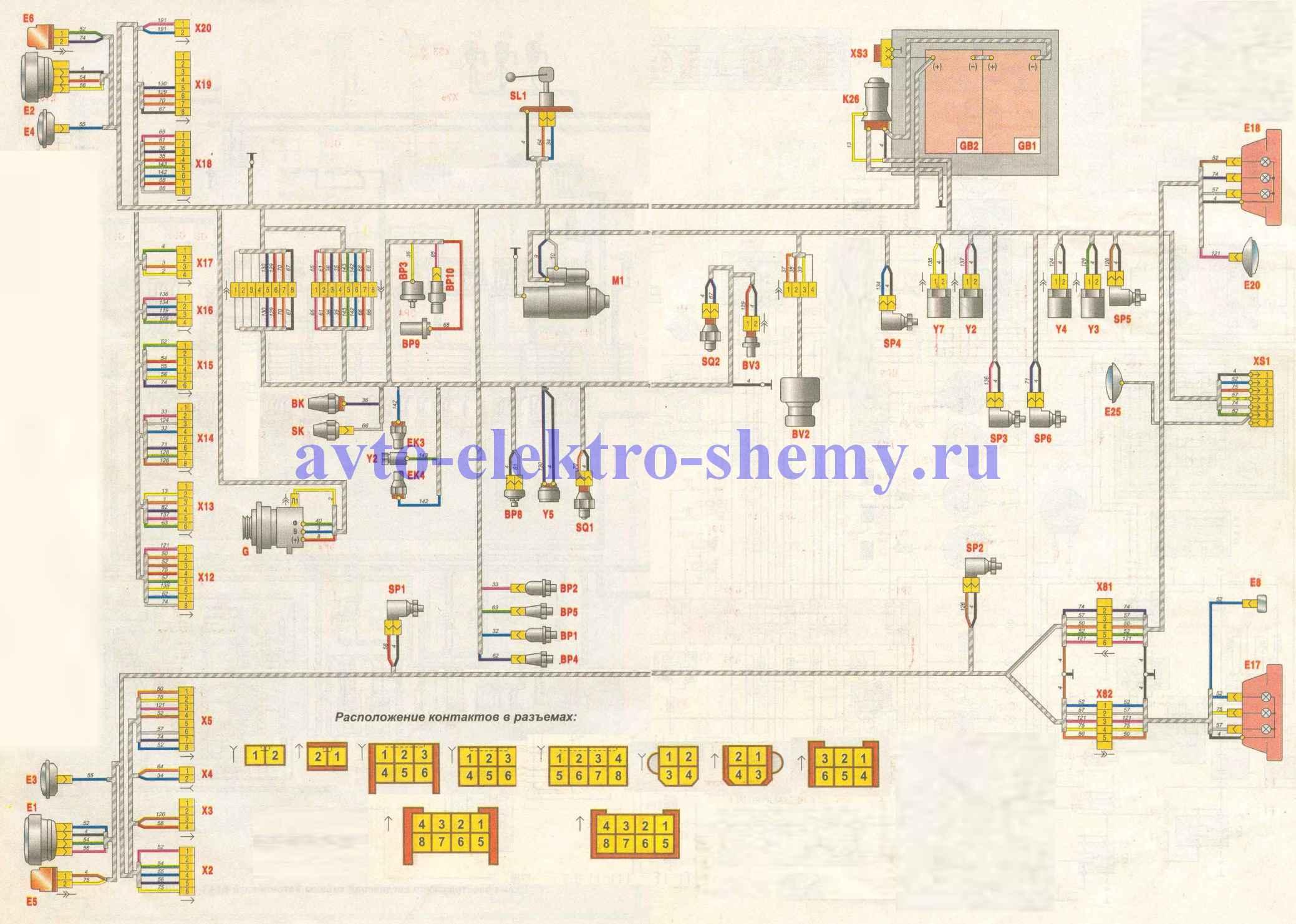Схема электрическая соединений шасси автомобилей МАЗ -631705