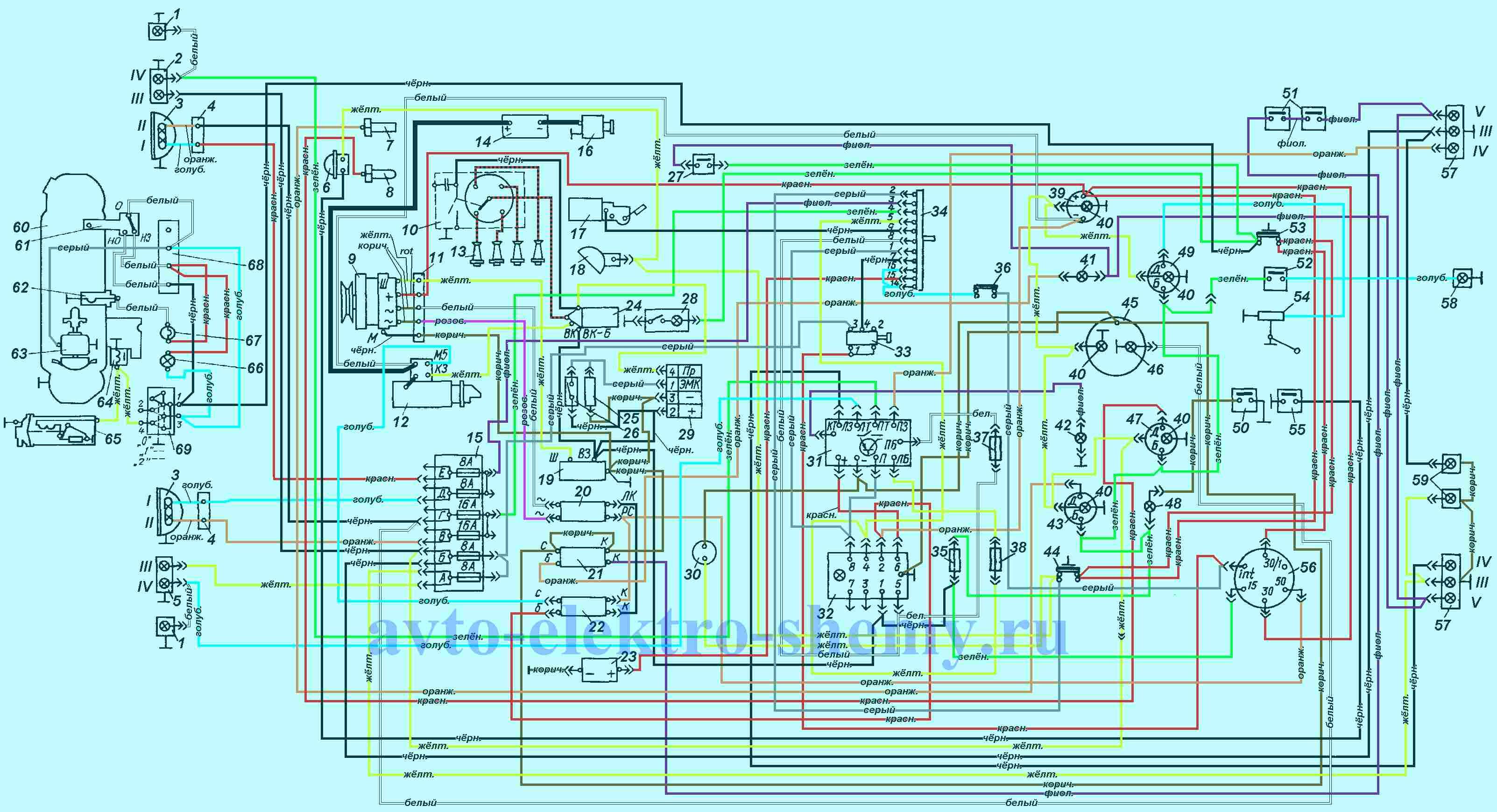 схема электро у авто от генератора уаз