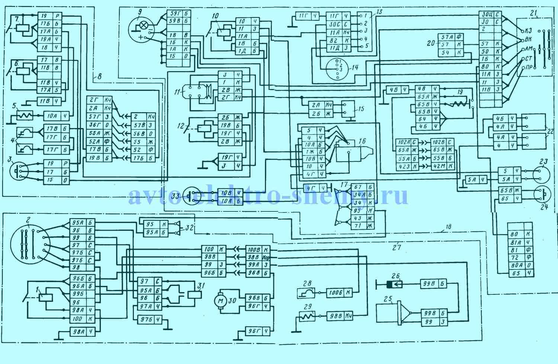 Рис.1. Электрическая принципиальная схема систем, обеспечивающих пуск двигателя КАМАЗА