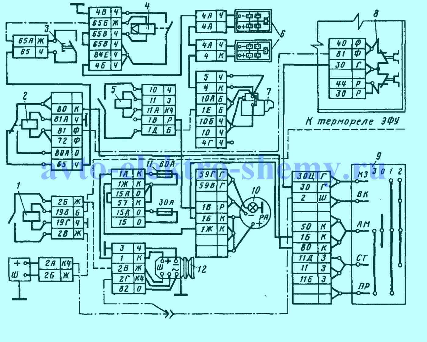 Электрическая принципиальная схема системы электроснабжения автомобиля