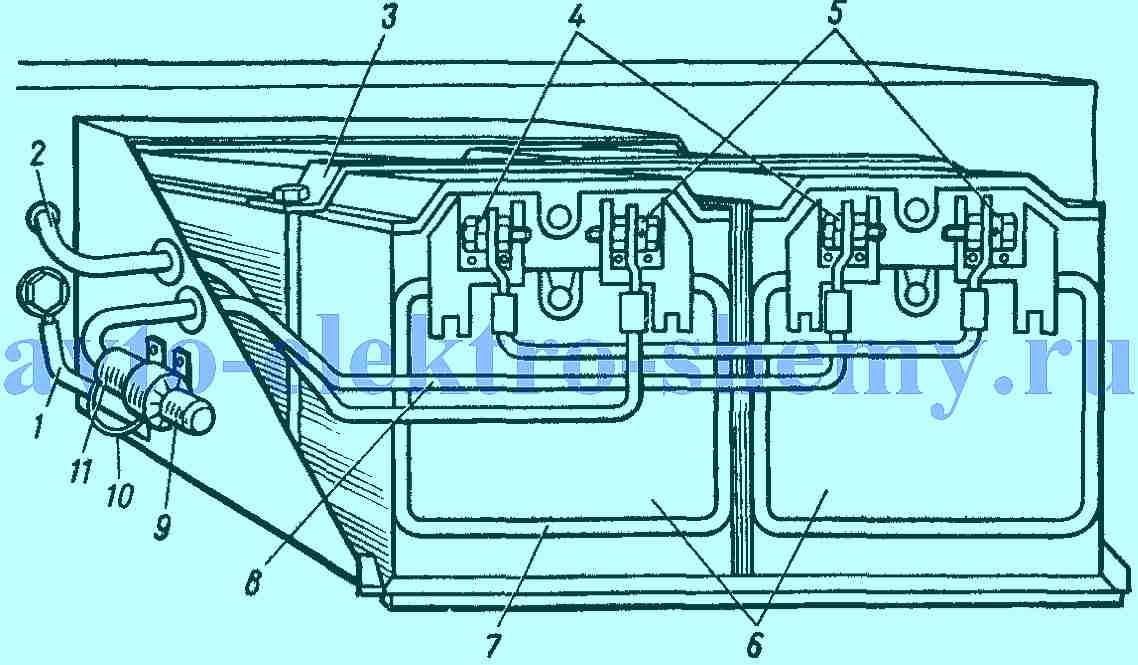Установка батарей на автомобиле КАМАЗ