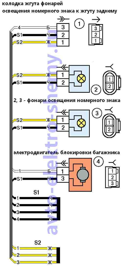 Электросхема подсветки номерного знака на ВАЗ-2170 (Приоре)