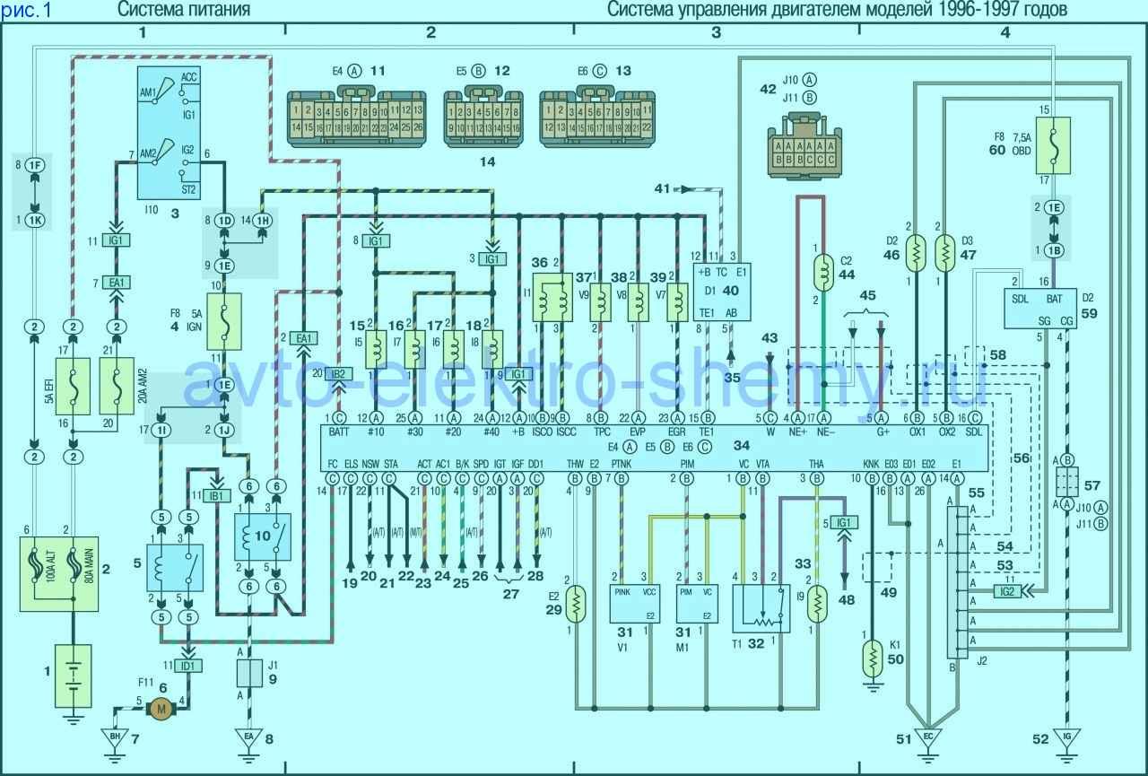 Toyota Rav4 (Тойота Рав4) 1994-2000 года выпуска.  Cхема электрическая принципиальная СИСТЕМЫ УПРАВЛЕНИЯ ДВИГАТЕЛЕМ...